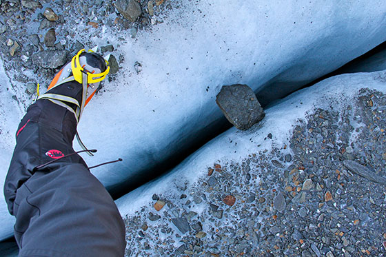 One of the smallest crevasses we encountered.   I was too busy watching my steps to be able   to grab a photo of a large one