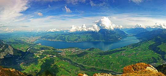 Lake Thun from the top of Niesen   October 2014