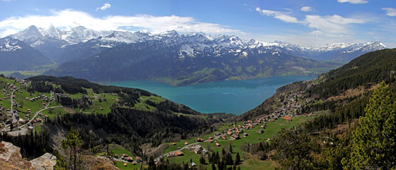 View from the Bire near Beatenberg   on Lake Thun, Eiger, Mönch and the Jungfrau   April 2012