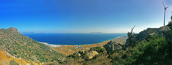 Looking towards Gyali & Nissyros   Kardamena in the far right   Mitsis Blue Domes below on the left and Turkey in the far left background