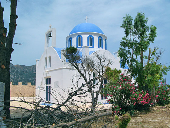 Church of Aghia Varvara (Saint Barbara) on the shoreline between the hotel and Kardamena