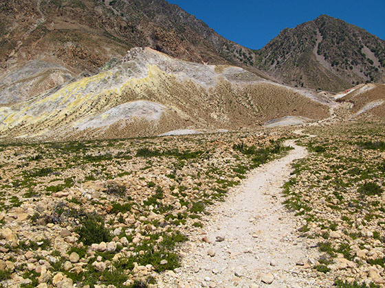 Path leading to the crater that looks the most active
