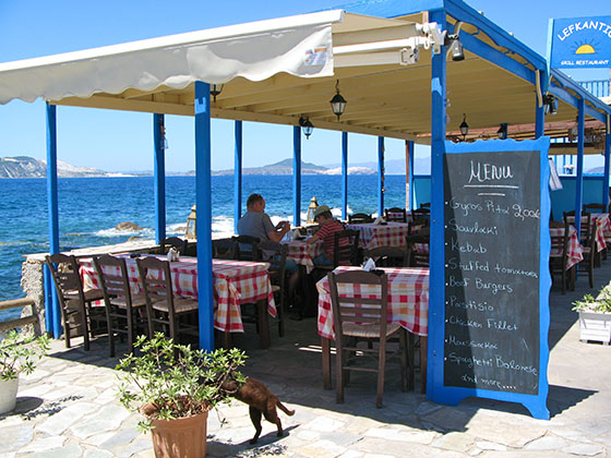 Waterfront restaurant in Mandraki   The gyros looks inviting