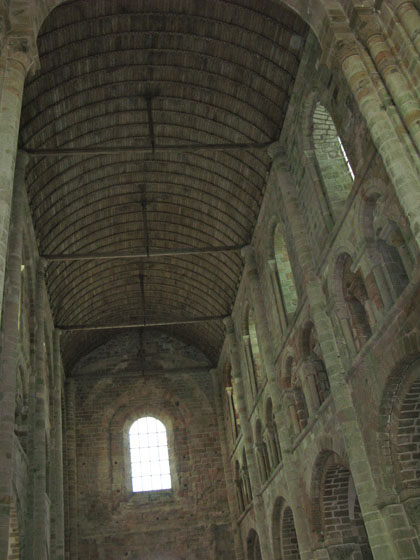 The nave in Romanesque style