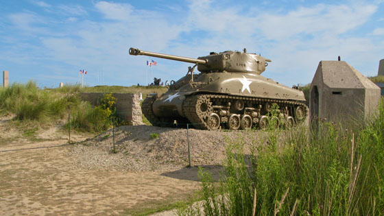 American Sherman tank on Utah Beach