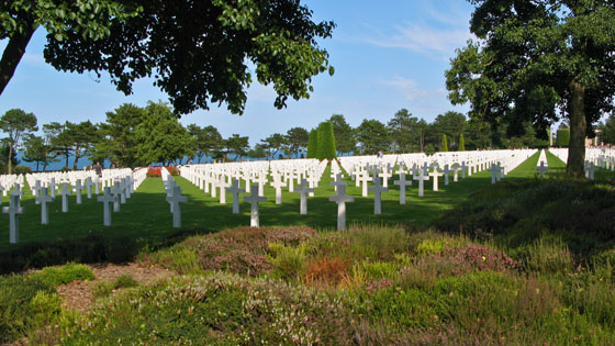 9,387 American military rest here in peace at the Normandy American Cemetery and Memorial