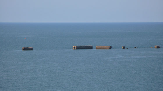A few remaining Phoenix breakwaters off the shore of Arromanches