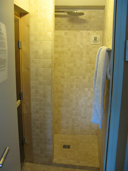 The shower in room 12   It also has a separate bathroom with a whirlpool